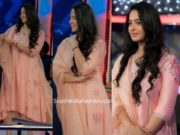 anushka shetty nishabdam promotions peach palazzo suit