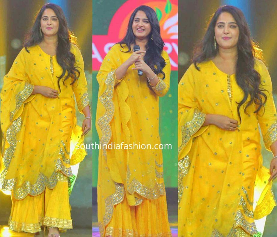 anushka shetty yellow sharara suit nishabdam promotions