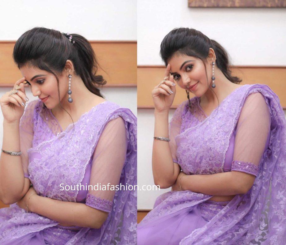 athulya ravi in lavender lace saree at jfw movie awards 2020 (1)