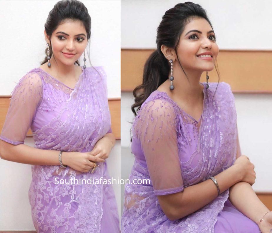 athulya ravi in lavender lace saree at jfw movie awards 2020