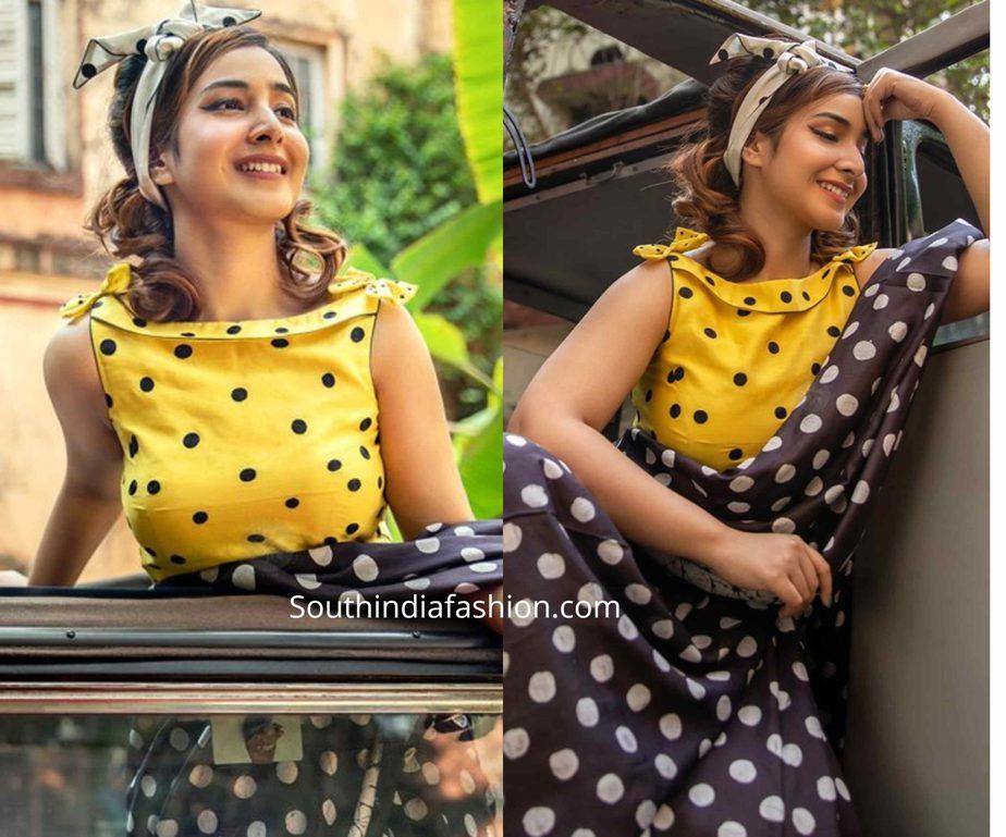 bollywood retro saree and blouse look