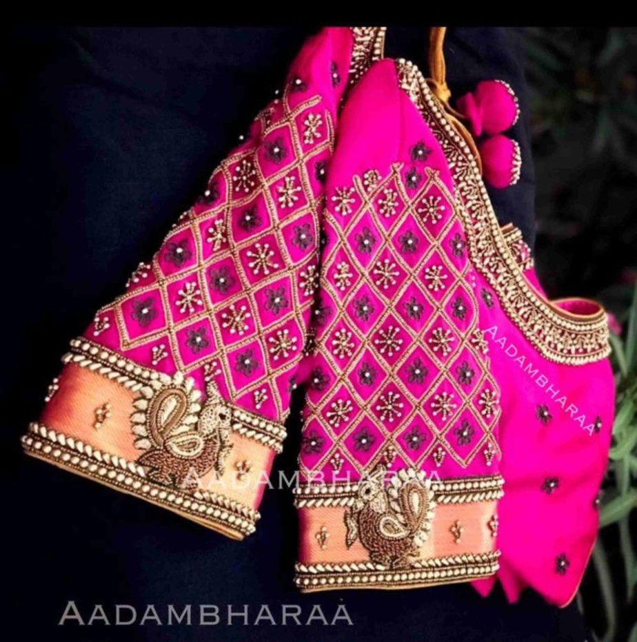 bridal silk saree blouse designs (1)