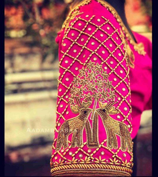 bridal silk saree blouse designs