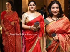 celebrities in silk sarees at jayasudha son wedding reception