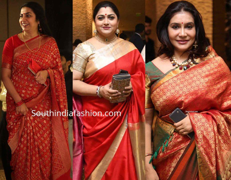celebrities in silk sarees at jayasudha son wedding reception