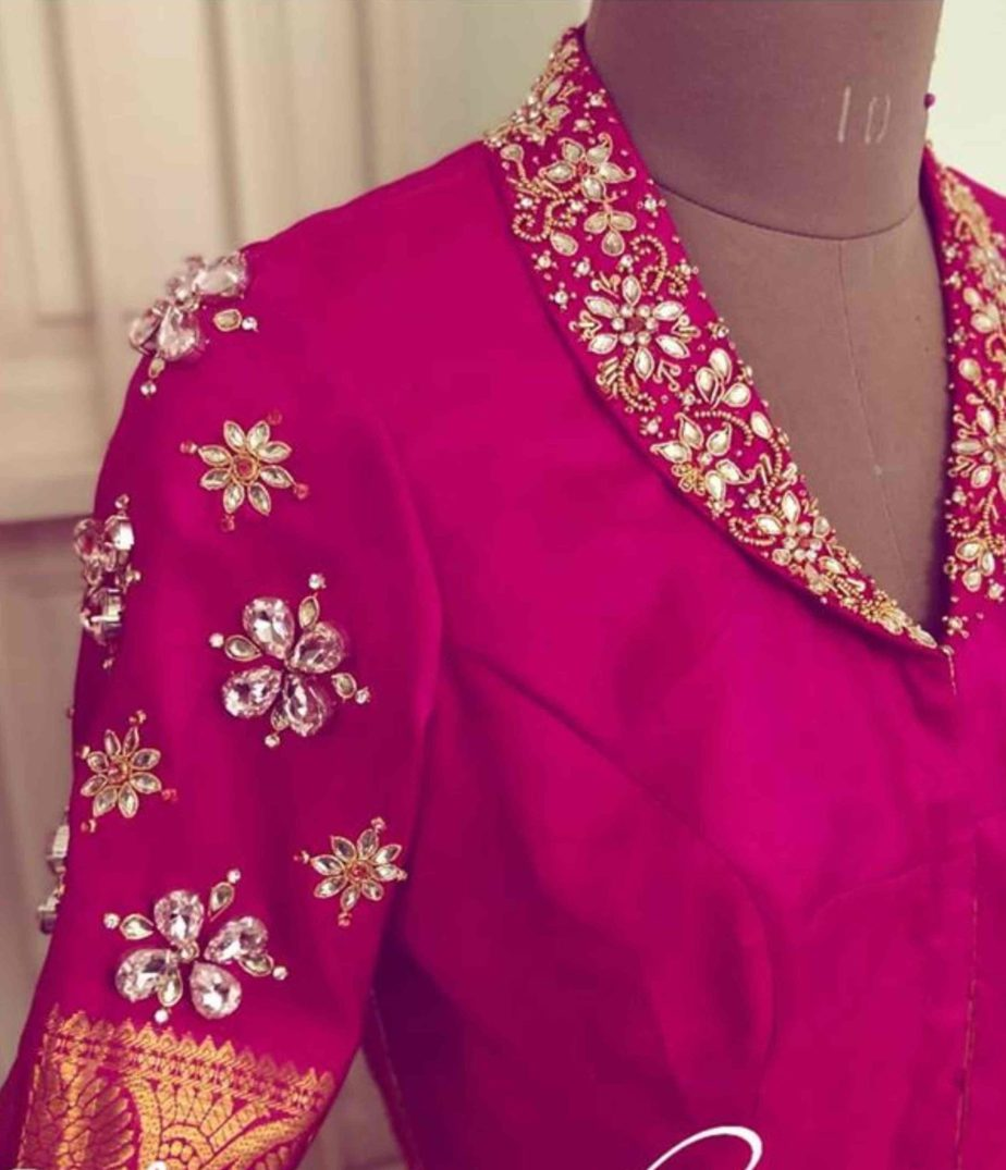 collar neck maggam work blouse for silk sarees