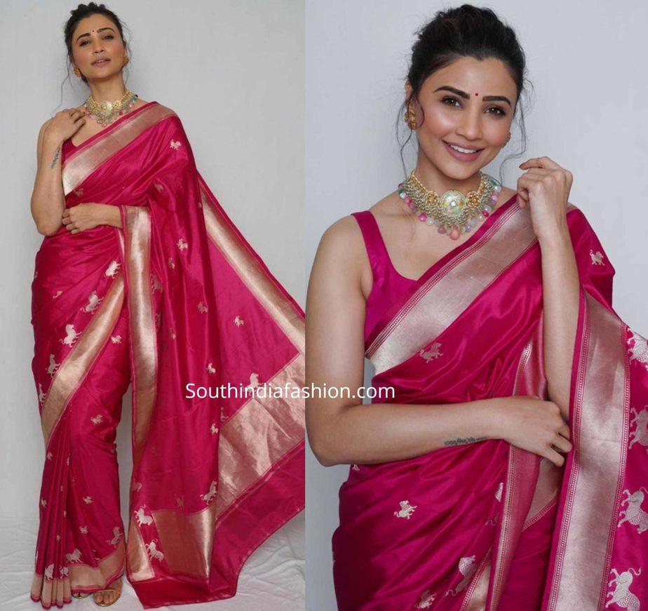 daisy shah in a pink banarasi silk saree (3)