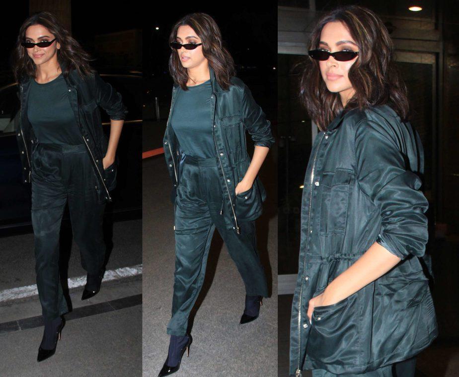 deepika at airport in dark green outfit