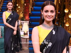 dia mirza black saree thappad promotions