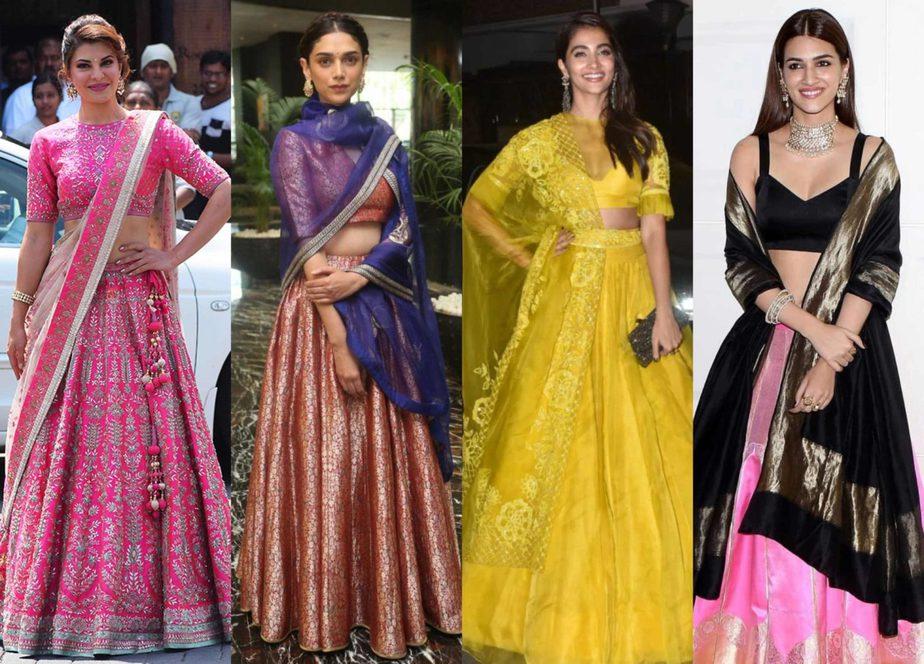 different lehenga dupatta draping styles