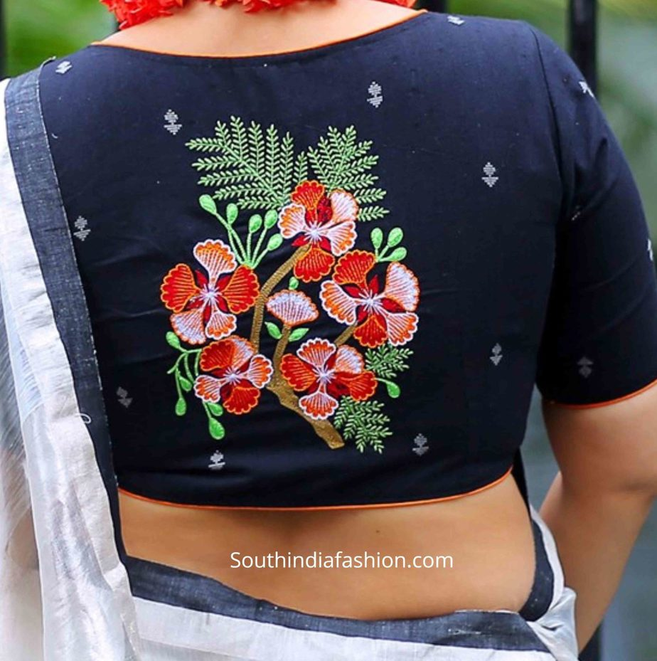 floral embroidered sari blouse designs