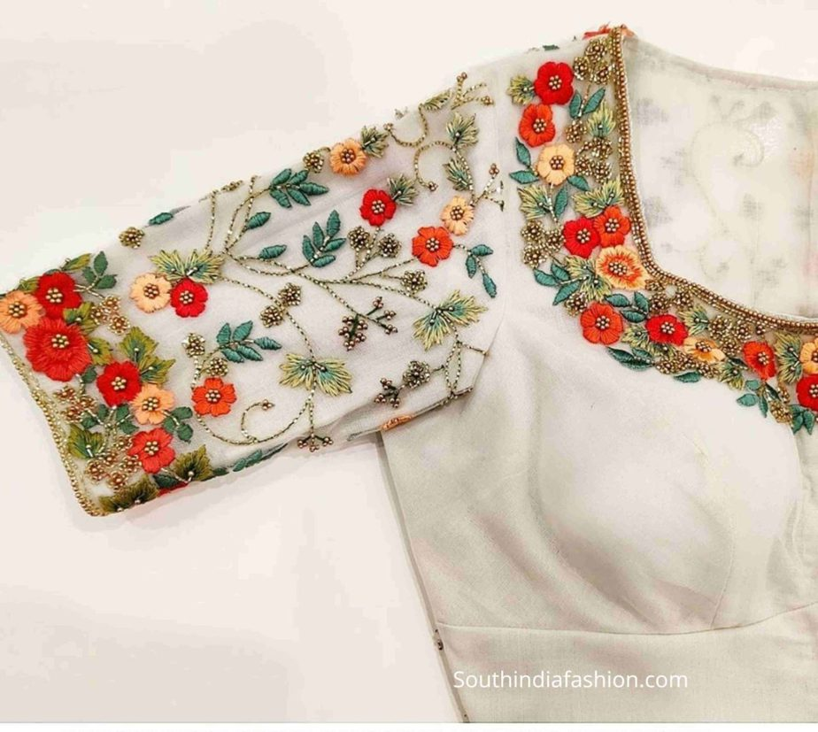 floral embroidery maggam blouse for pattu sarees (1)