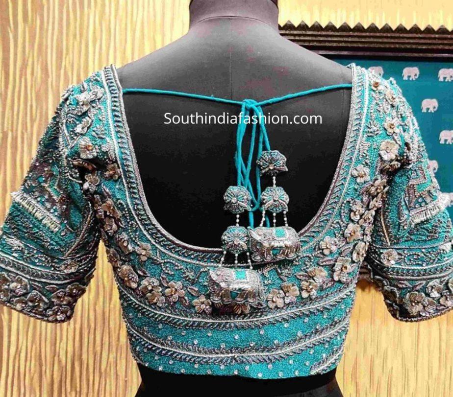 full aari work pattu saree blouses
