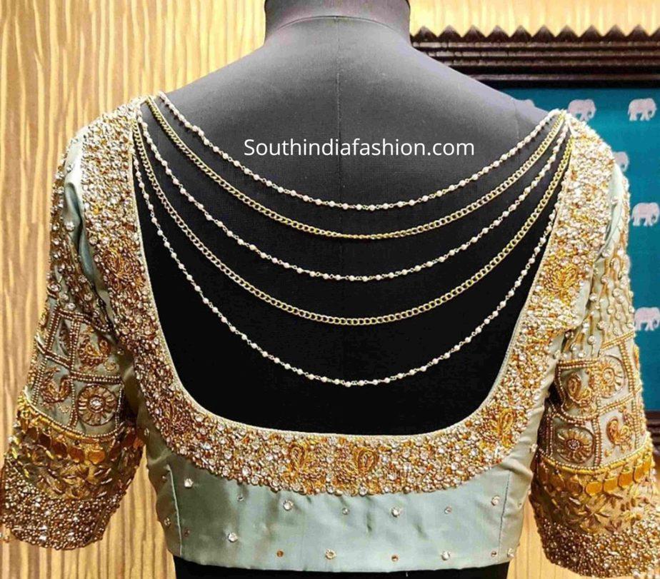 full aari work silk saree blouses