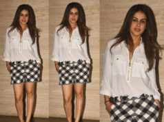 genelia casual look plaid shorts white shirt