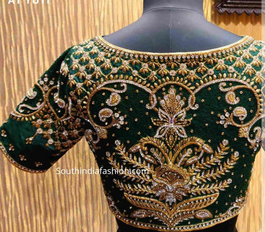 velvet heavy maggam, work pattu saree blouses