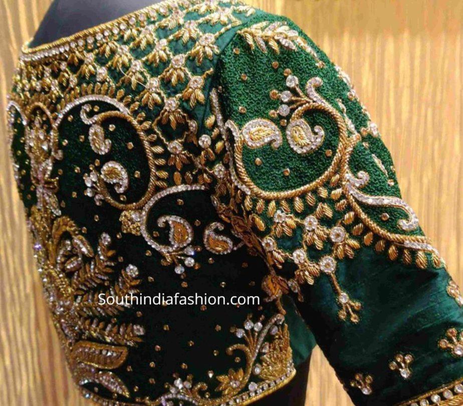 heavy maggam work pattu saree blouses