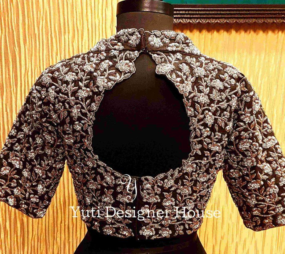 high neck zardosi work blouse