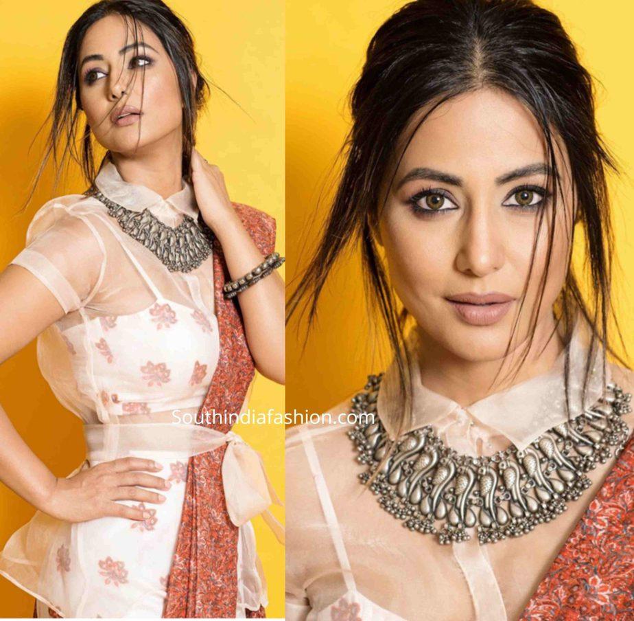 Hina Khan Slays In An Fusion Saree South India Fashion