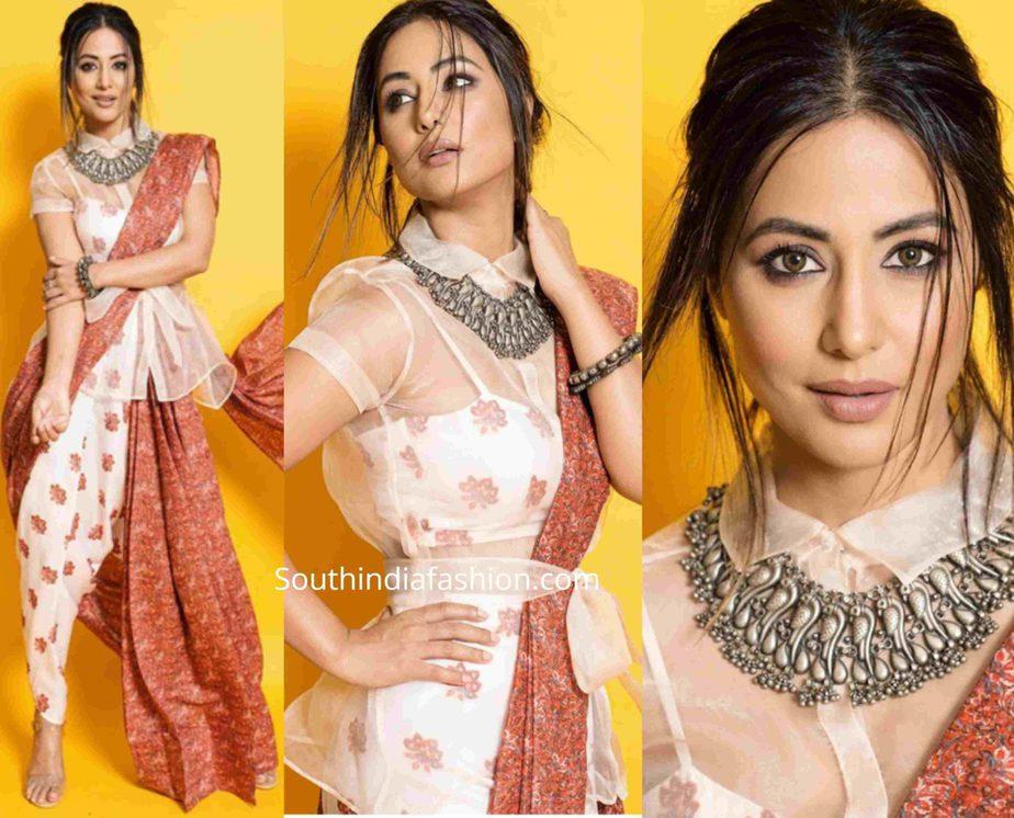 hina khan indo western saree (3)