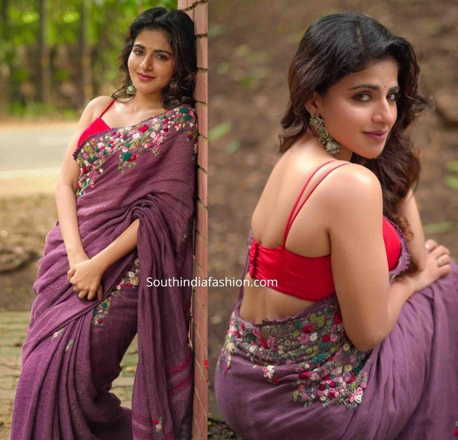iswarya menon pink saree (1)