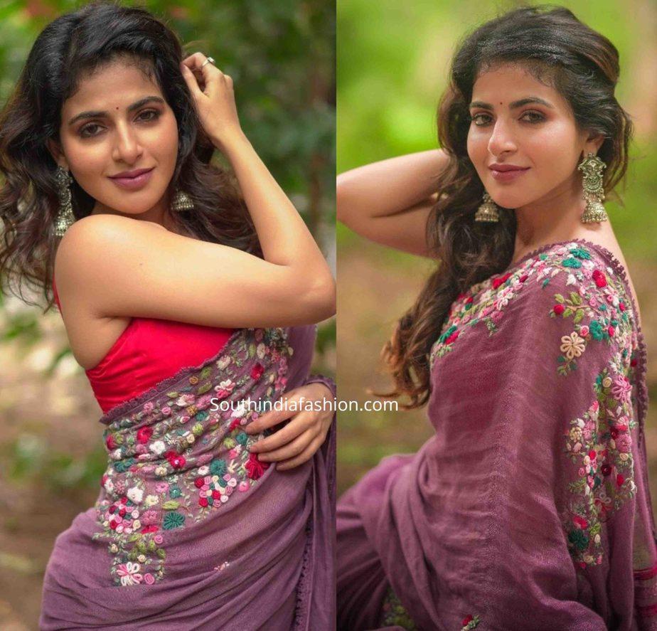 iswarya menon pink saree (2)