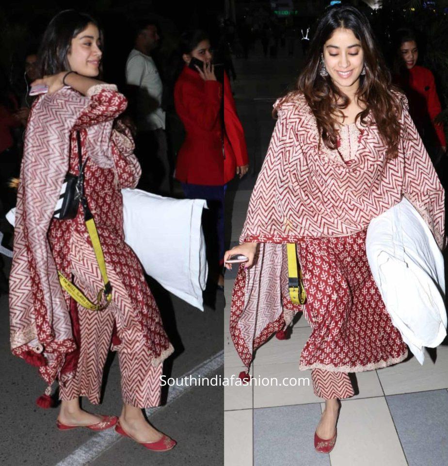 janhvi kapoor casual maroon printed kurta set by punit balana (1)