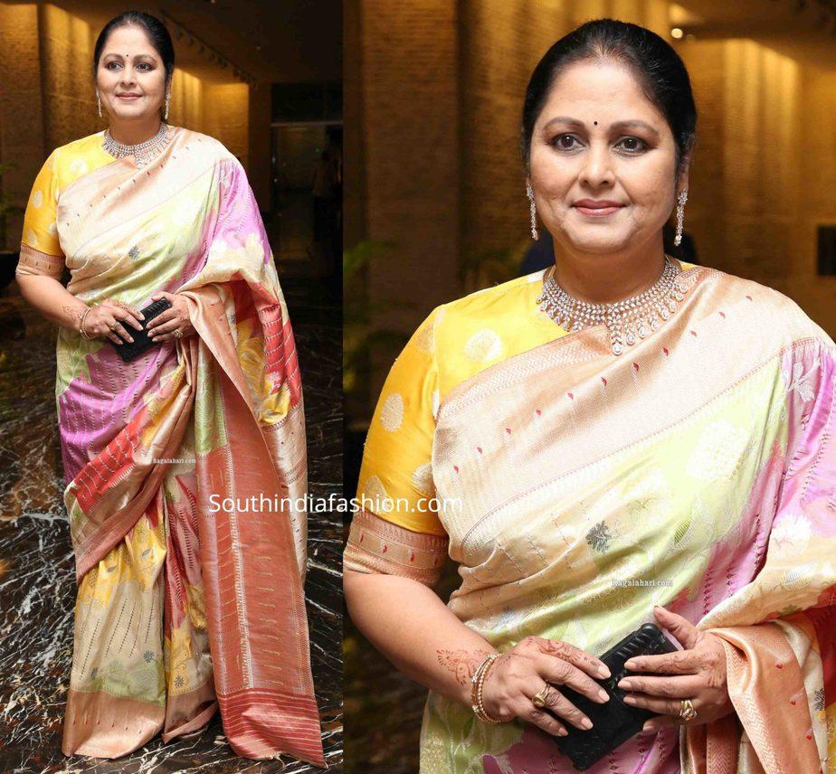 jayasudha in banarasi silk saree at her son nihar kapoor wedding reception (1)