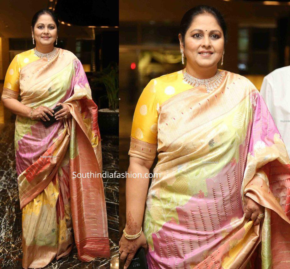 jayasudha in banarasi silk saree at her son nihar kapoor wedding reception