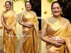 jayasudha sister subhashini in gold silk saree
