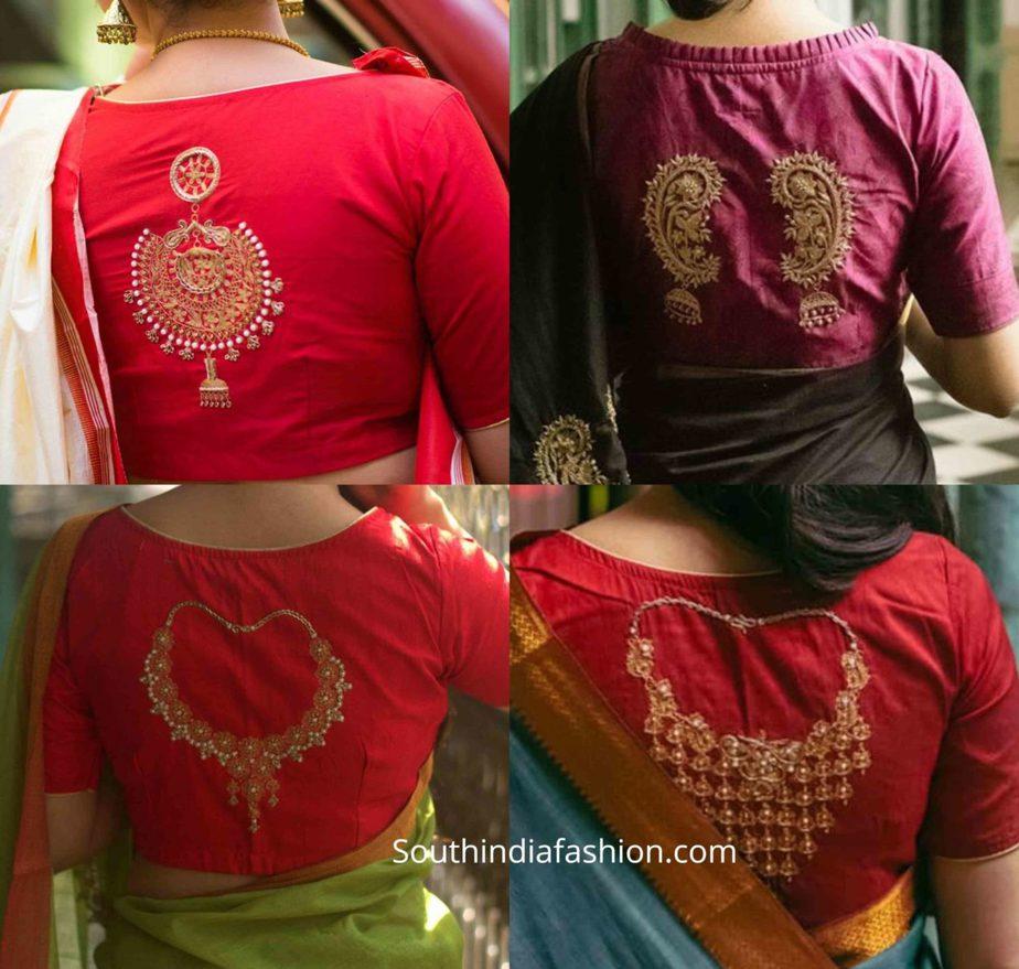 jewellery motif saree blouse designs