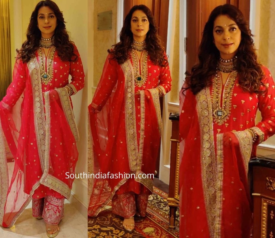 juhi chawla in red palazzo suit by gopi vaid