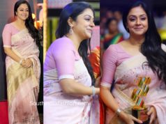 jyothika in lavender linen saree at jfw movie awards