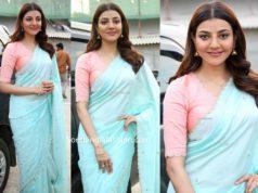 kajal aggarwal blue saree pink blouse
