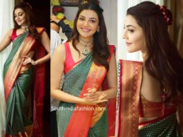 kajal aggarwal in a green pattu saree at mangalya shopping mall launch (3)
