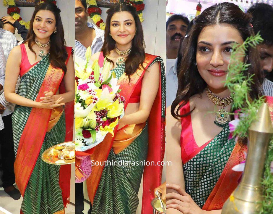 kajal aggarwal in a green pattu saree at mangalya shopping mall launch