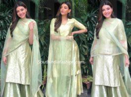 kajal aggarwal in raw mango mint green brocade sharara suit