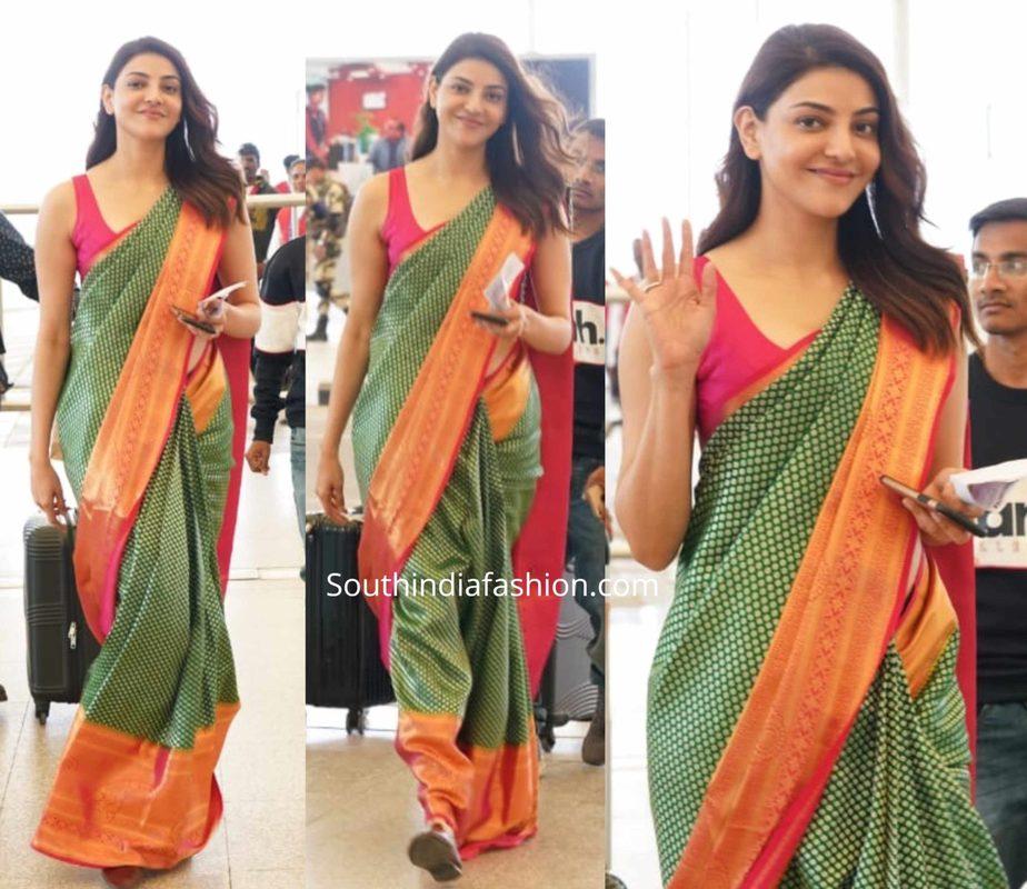 kajal aggarwal in silk saree at airport