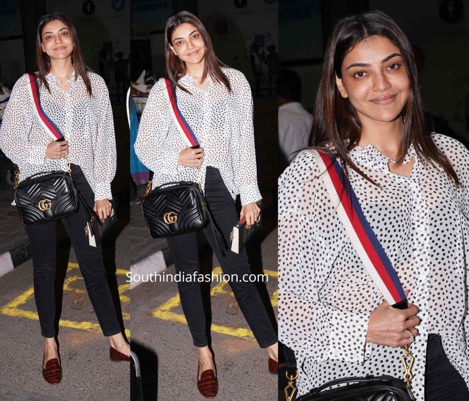kajal aggarwal no makeup airport look