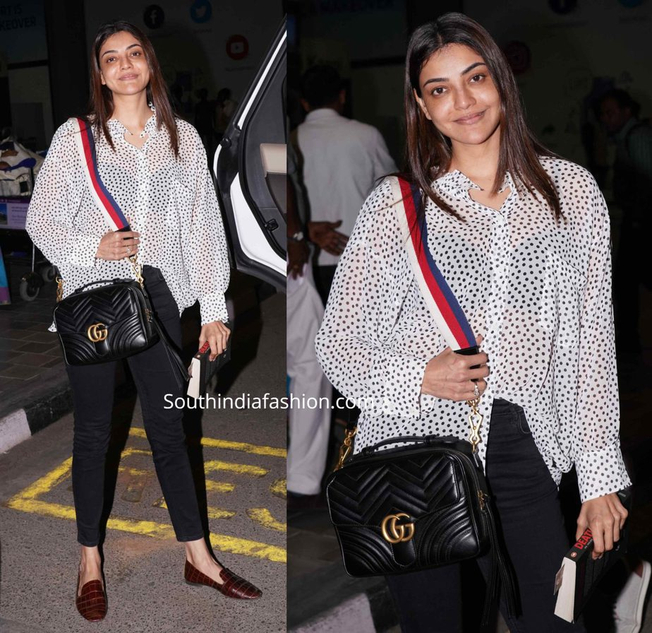 kajal aggarwal without makeup (1) airport look
