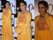 kajol in yellow maxi dress with jacket at devi short film screening