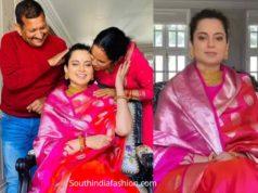 kangana raanut pink banarasi silk saree birthday