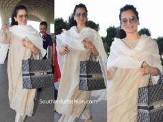 kangana ranaut at airport in salwar kameez and dior tote