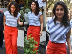 kareena kapoor red pants striped t shirt