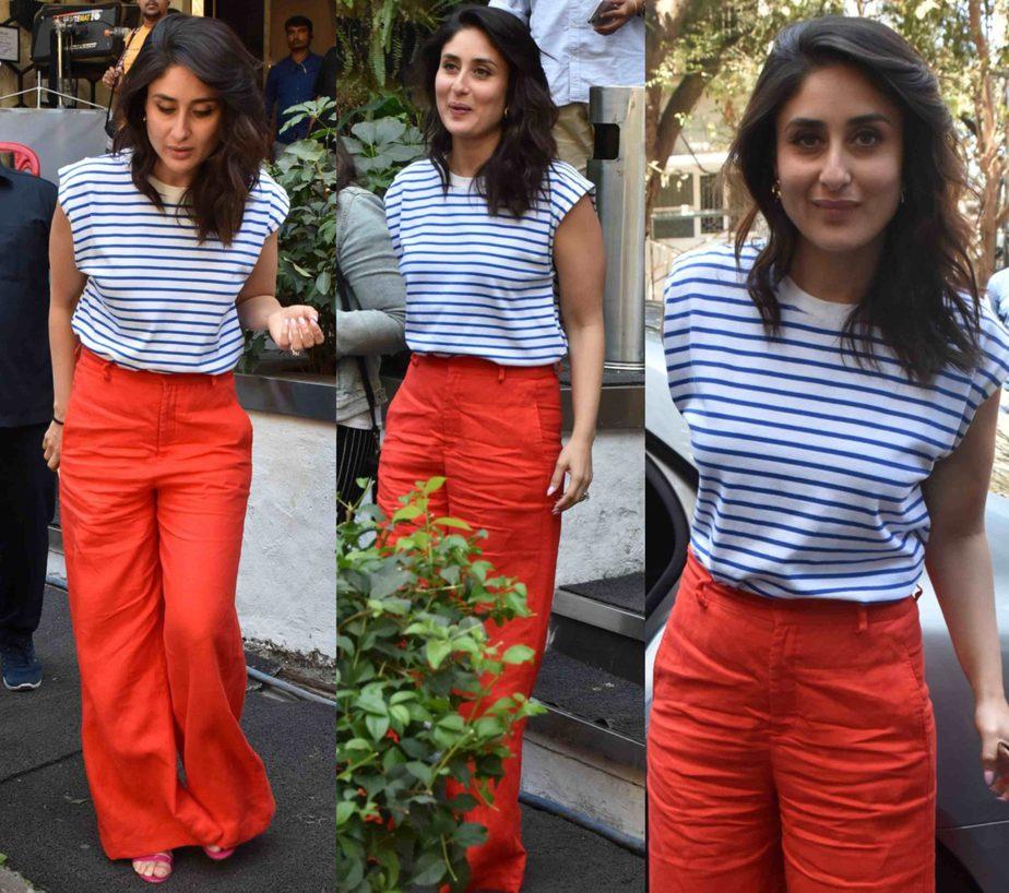 kareena kapoor red pants striped t shirt