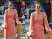 karisma kapoor in anita dongre printed dress