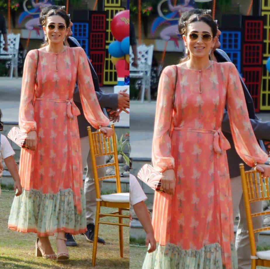 karisma kapoor in anita dongre printed dress