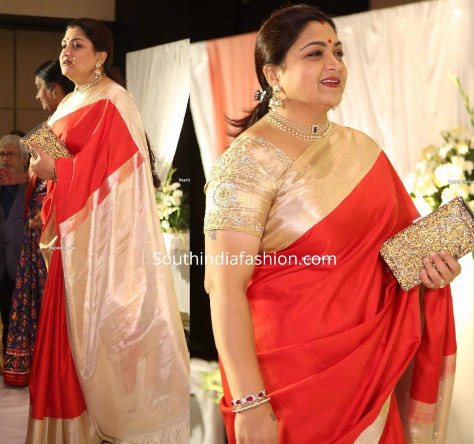 khushbu sundar in red silk saree at jayasudha son wedding reception (2)
