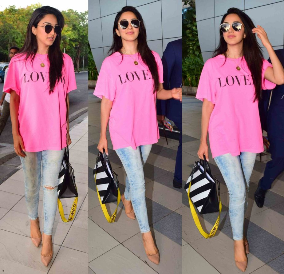 kiara advani airport look jeans with pink t shirt