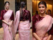 lakshmi manchi in pink organza saree at jayasudha son wedding reception